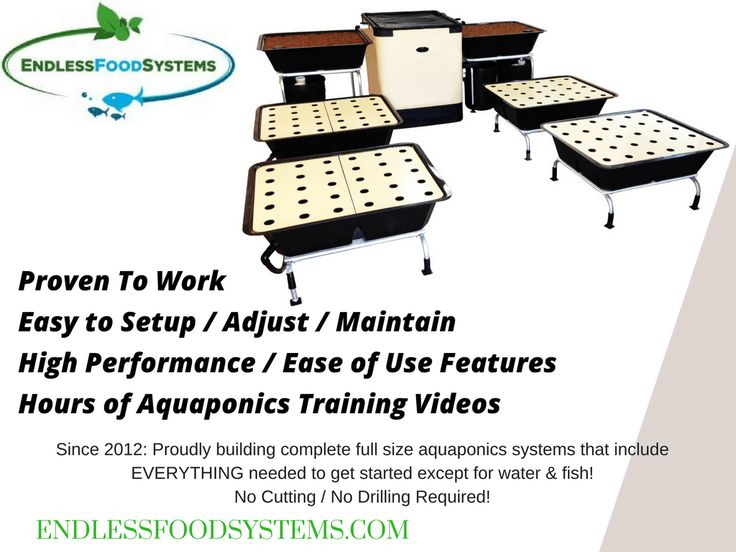 Grow your own food with a high performance aquaponics system! Food grows really fast compared to soil gardening! Our kits focus on high performance, easy setup, & ease of management. We include everything needed to get started except water & fish. There is no cutting or drilling! What do you get? Everything Included (except water & fish): We ship absolutely EVERYTHING you will need to get started: pumps (water & air), pre-cut plumbing connections, grow beds, insulated fish tank, clay…
