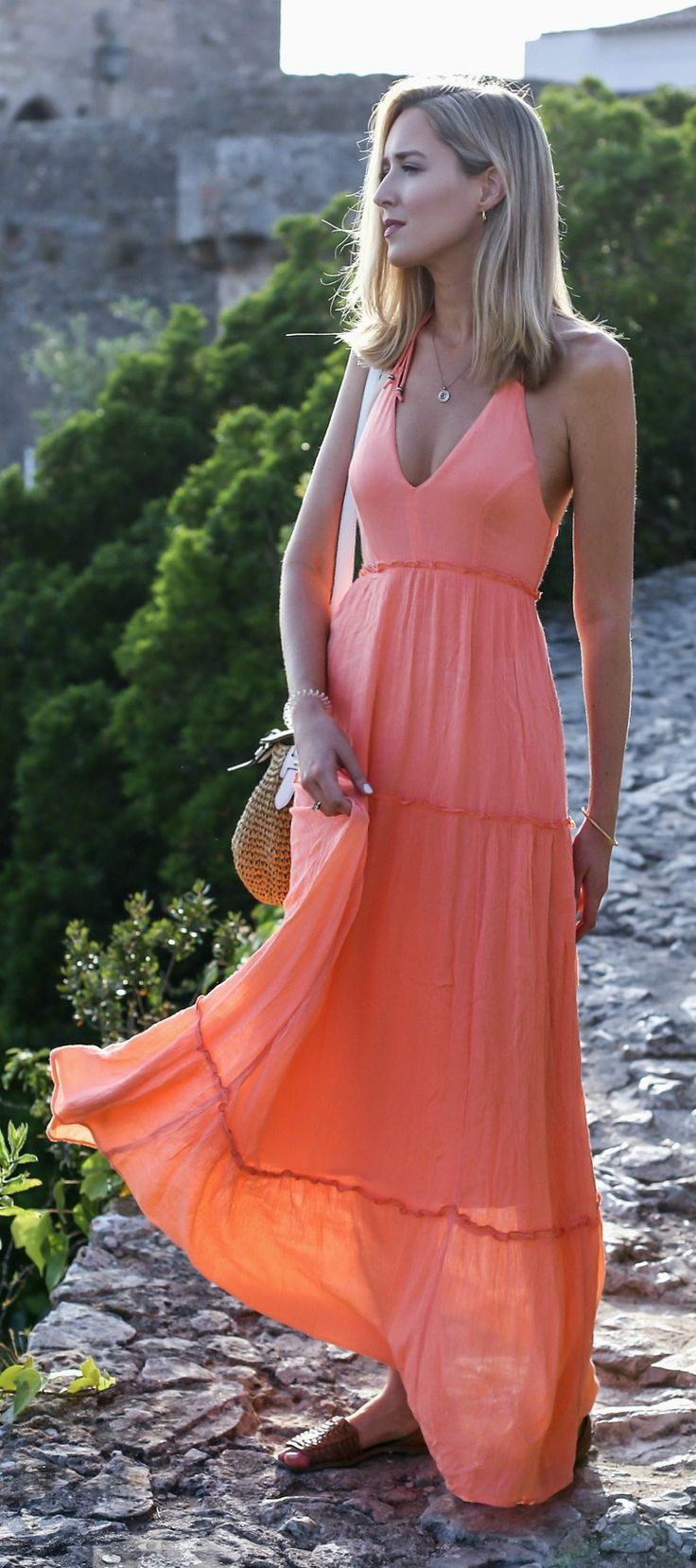 coral maxi dress, woven flats, woven handbag, pendant necklace {abercrombie & fitch, michael kors, melinda maria} {Portugal travel guide}