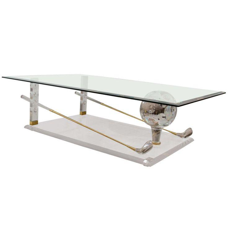 Brass, Lucite And Glass U0027Golfu0027 Themed Coffee Table | 1stdibs.com