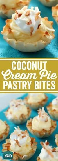 Bite Size Coconut Cream Pie Pastry Bites. The filling in these is crazy good. Perfect for anytime you need a mini dessert ~ http://reallifedinner.com