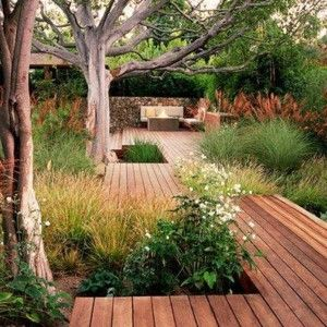 Lovely Backyard Wooden Deck Around Large Trees Design , Incredibly Wonderful Outdoor Space At The Backyard Of Your House With The Structure Ideas For Deck Around Tree Plans In Outdoor Category
