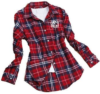 Monogrammed Ladies Plaid Flannel Shirt TinyTulip.com We're All About Personalization - Gifts Monogram Embriodery