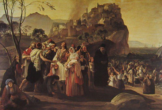 Francesco Hayez; I prfughi di Praga; 1831; olio su tela; Pinacoteca Tosio martinengo, Brescia.