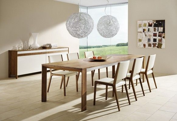 Team7 modern dining set round chandeliers