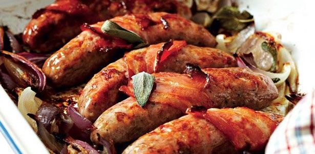 Sausage and bacon bake with sautéed spinach