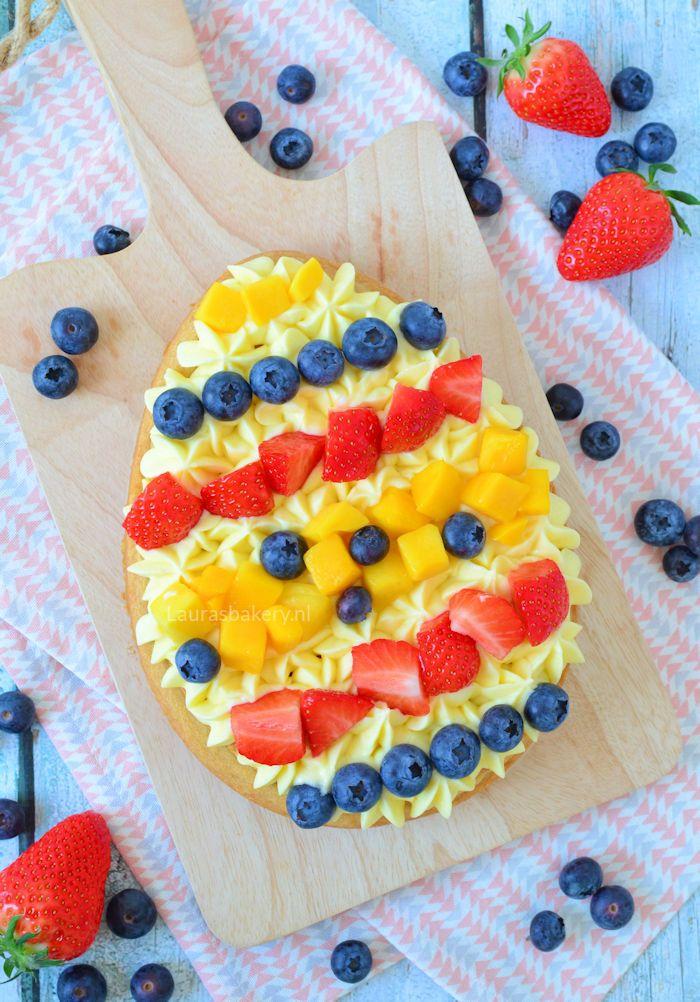 Easter egg tart - paasei sloffenbodem met fruit - Laura's Bakery