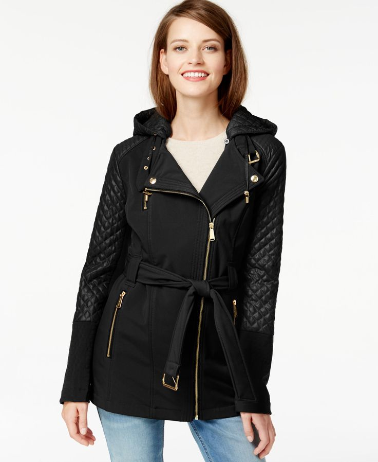 MICHAEL Michael Kors Quilted-Sleeve Asymmetrical-Zip Coat | macys.com