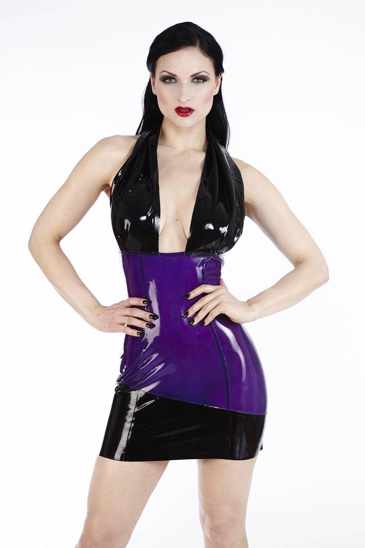 This smoky black transparent latex halter dress sparks the ...