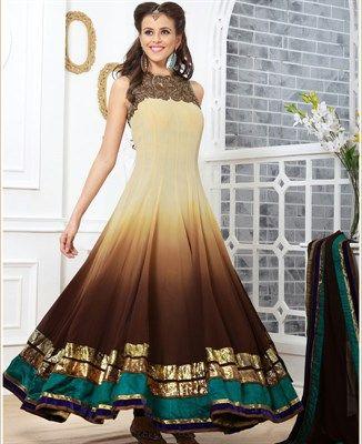 Scintillating Brown & Cream Party Wear Salwar Kameez [ADF28951] $169.88 - Buy fashion wear online, Buy Indian wear Online by A1designerwear.com