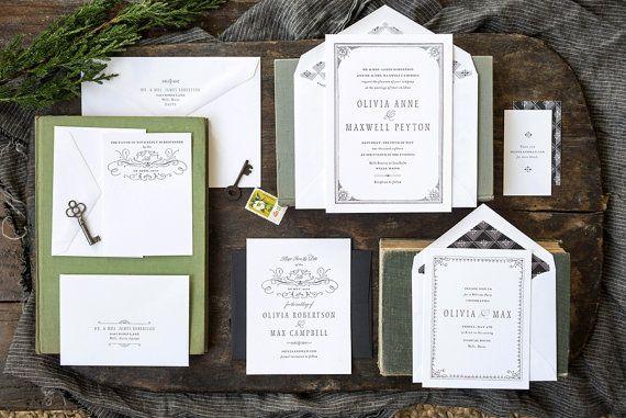 Formal Wedding Invitation Vintage Wedding by hellotenfold on Etsy