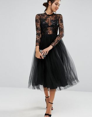 ASOS Lace and Embellished Bodice Dress with Mesh Midi Skirt