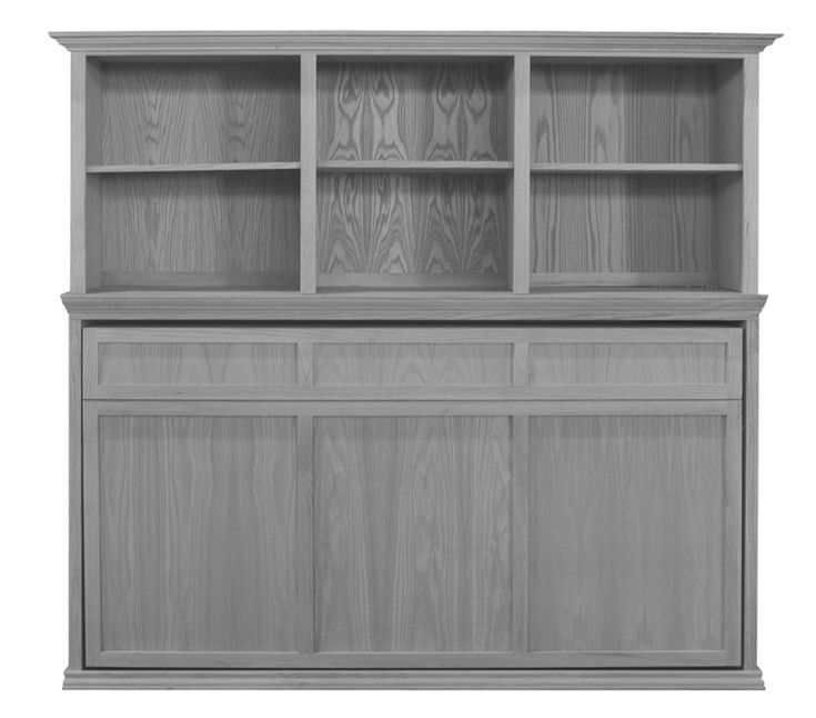 Horizontal Murphy Bed with optional bookcase. Bed is in the stored position.