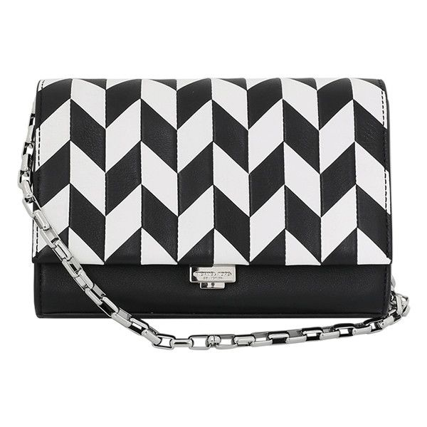 Michael Kors Yasmeen Arrow Chevron Bag (4.105 DKK) ❤ liked on Polyvore featuring bags, handbags, shoulder bags, purses, black and white handbags, suede purse, locking purse, michael kors and michael kors purses