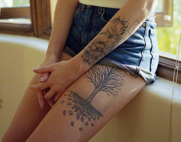 Tree thigh tattoo - 60 Thigh Tattoo Ideas  <3 <3
