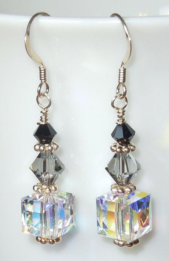 Swarovski Crystal Drop Earrings Shades Of Gray Dreams Home Decor Jewelry Beaded