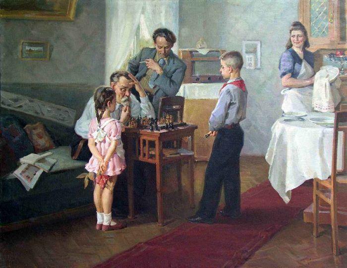 живопись соцреализма – 25Солодовников Алексей Павлович. «Юный шахматист»