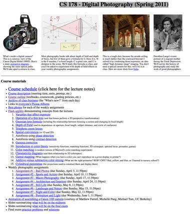 Pinterest Find: Stanford Digital Photography Syllabus & Assignments Online Free