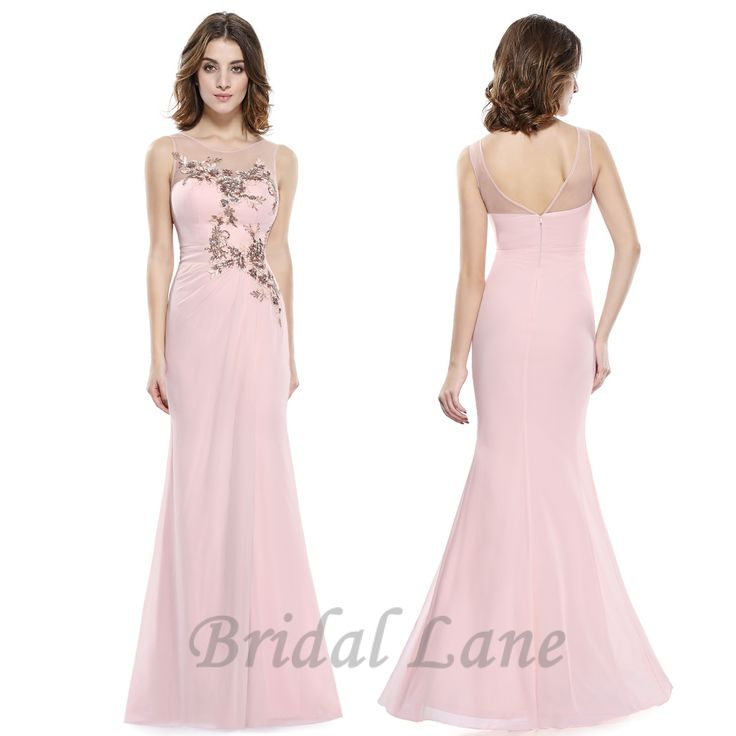 Blush pink evening dresses with illusion neckline for matric ball / matric farewell in Cape Town - Bridal Lane ♥