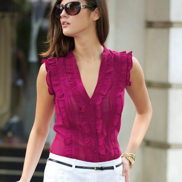 Bluză cu volane din voal- culori negru si violet -masuri de la 34 la 48