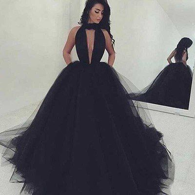 Black Ball Gown Prom Dresses, Sexy Backless Long prom Dress, Black Prom Dress, dresses for Prom, long evening dresses, 17421