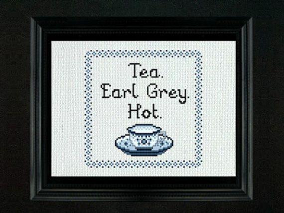Tea Earl Grey Hot  Cross Stitch PDF Pattern by LadyBeta on Etsy #Star_Trek_TNG