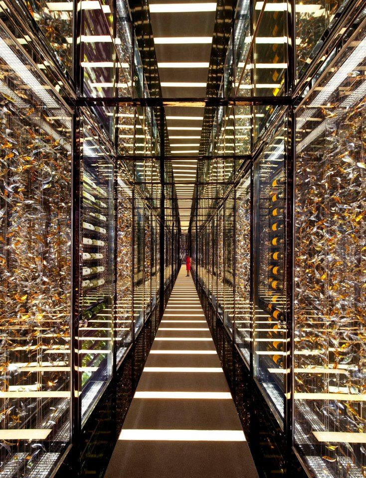Walls of wine cabinets featuring 10,000 bottles of wine at Level 102 of Ritz Carlton Hotel, Hong Kong