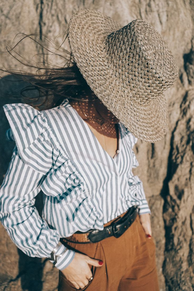 stripped_blouse-camel_trousers-lack_of_color_hat-wanderlust_jewels-matador_beach-malibu-golden_goose_sneakers-street_style-collage_vintage-156