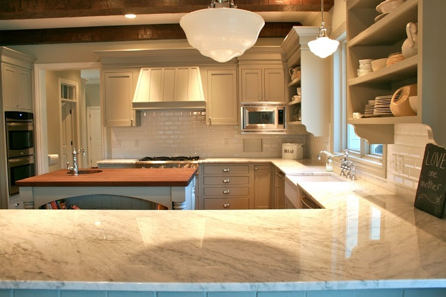 on cabinets Benjamin Moore Fieldstone (same as Sally Wheat's kitchen