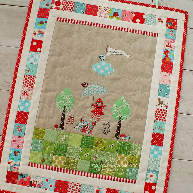 little red and wolfie mini quilt by nanaCompany, via Flickr