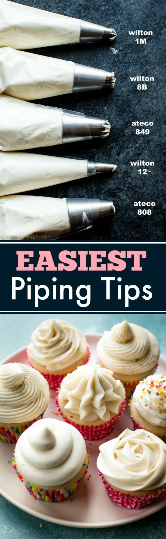 Here are the EASY ways to pipe beautiful frosting designs and decorations. Plus the best piping tips and vanilla buttercream recipe! sallysbakingaddiction.com