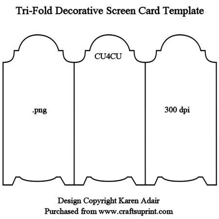 Tri Fold Screen Card Template on Craftsuprint designed by Karen Adair - This template is in png format at 300 dpi and sized 1664 x 1176 pixels, sixed perfectly for your cup designs. it is CU4CU friendly, and comes on a transparent background ready for you to apply your own fill. If you like this check out my other designs, just click on my name. - Now available for download!