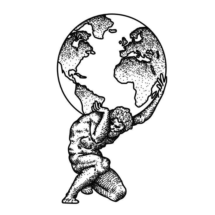 Atlas. Tattoo Flash by Ego Sum Lux Mundi. More info: https://www.instagram.com/egosumluxmundi/ https://egosumluxmundi.hotglue.me/