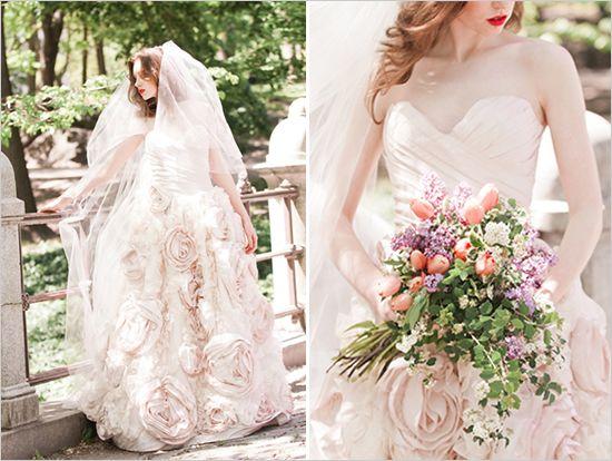 light pink wedding dress