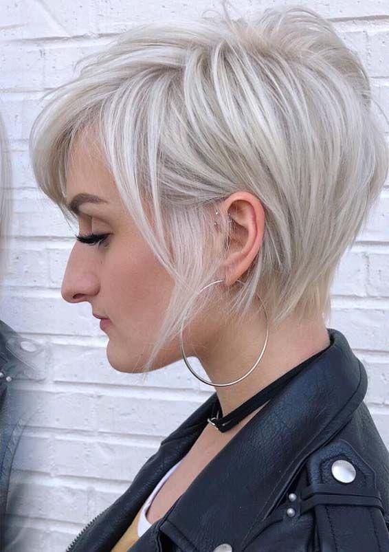 23 Popular Platinum Blonde Hair Colors For Short Hair In 2019 Absurd Styles Short Blonde Haircuts Platinum Blonde Hair Very Short Haircuts