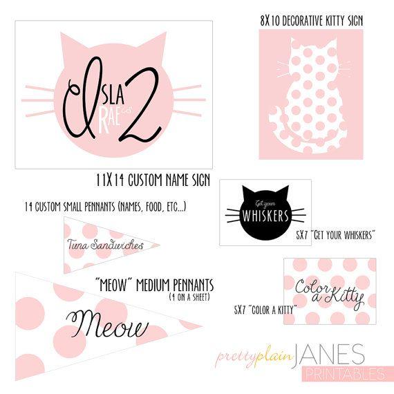 Cat Birthday Banner: Kitty Cat Party Digital Printables