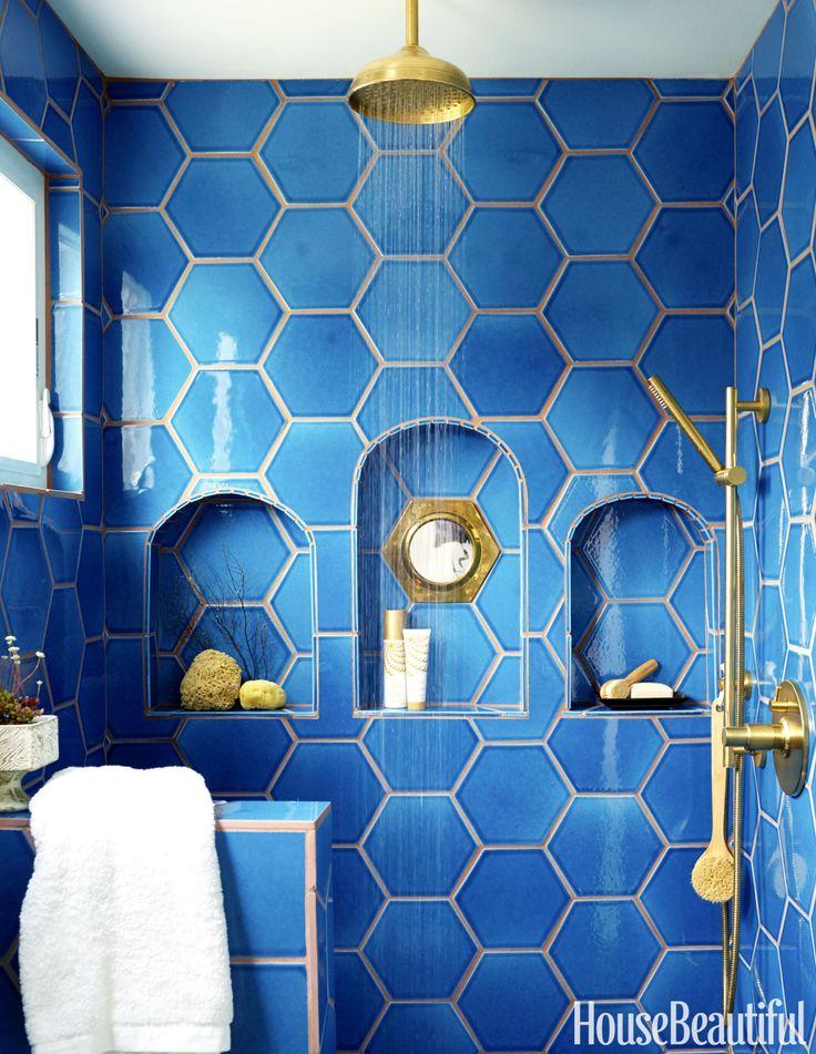 True blue, cobalt, tiles, bathroom tiles, hexagon, brass fixtures