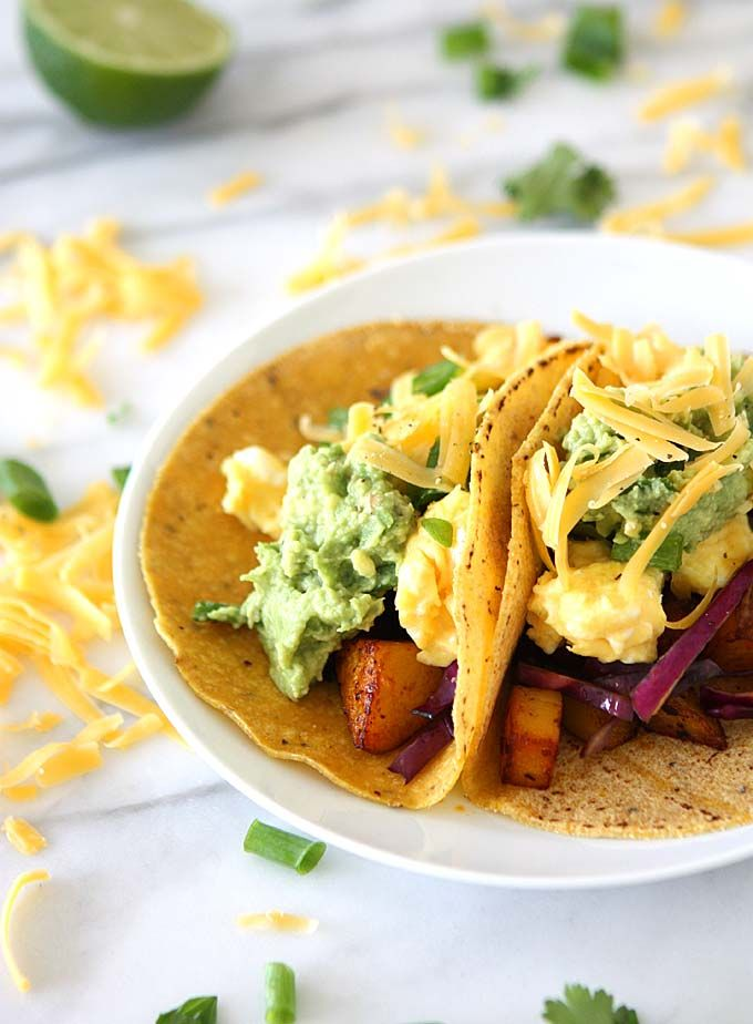 Chipotle Adobo Breakfast Tacos with Quick Guacamole   thekitchenpaper.com