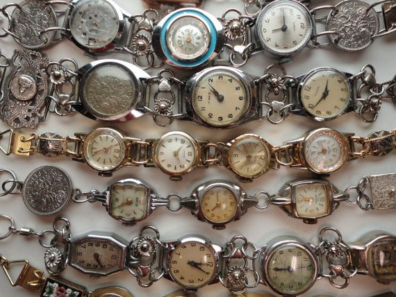 Steampunk Industrial Chic Reclaimed Vintage Watches Bracelets by Recycloanalyst