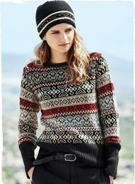 Totally in love with this sweater. Adorable on or off piste, our hand-loomed Fair Isle pullover recalls sporty vintage ski sweaters. Knit in black, red, taupe and navy alpaca, the trim-fitting silhouette has extra-long ribbing at the cuffs and hem.