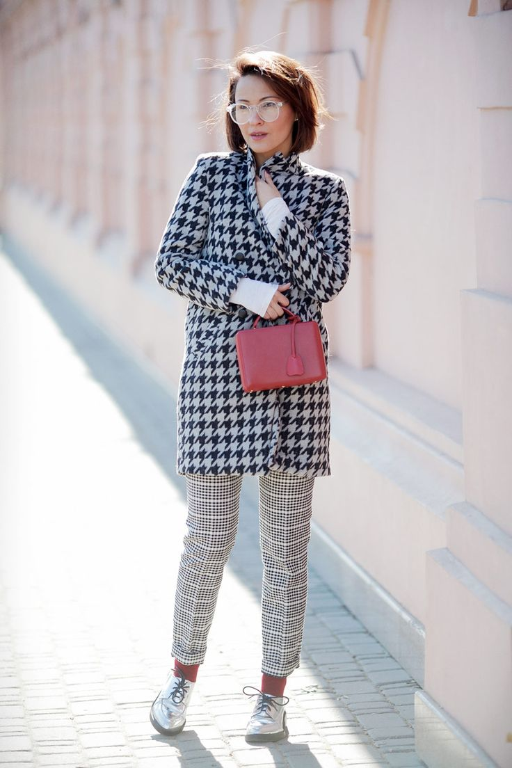 hounds tooth coat outfit, spring outfit ideas, mark cross bag outfits,