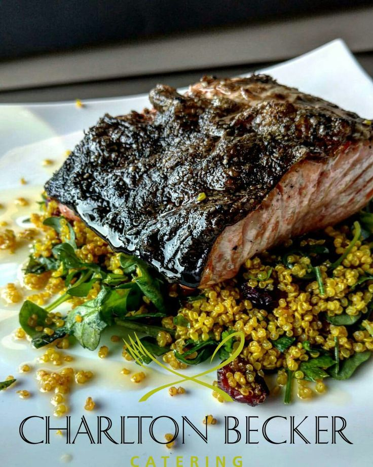 Grilled Salmon over Curried Quinoa Salad
