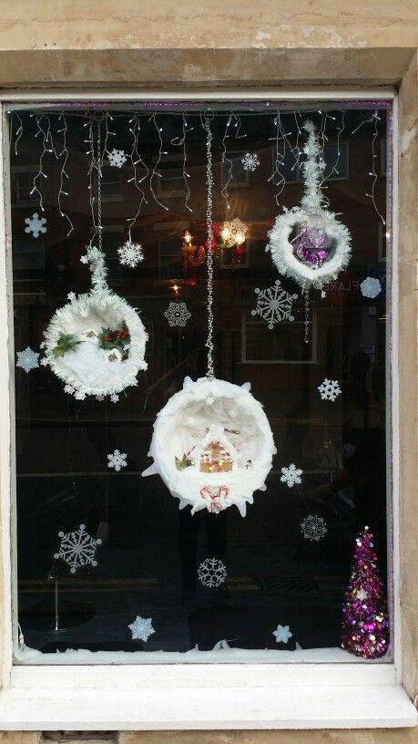 handmade snowscenes for salon window display :)