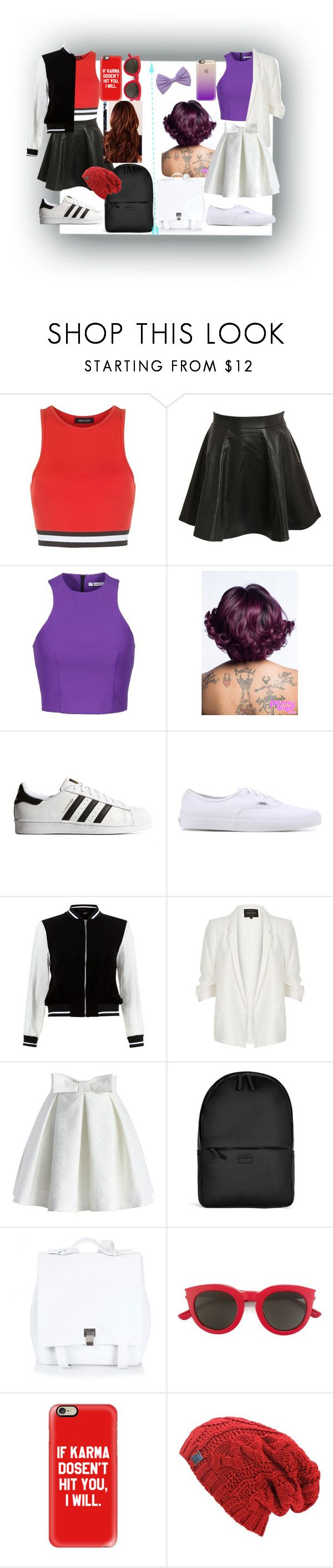 """""""Me(Red and black) & Aree (Purple and white)!!"""" by septicplier64 ❤ liked on Polyvore featuring New Look, Pilot, T By Alexander Wang, adidas Originals, Vans, River Island, Chicwish, Rains, Proenza Schouler and Yves Saint Laurent"""