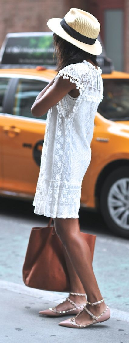 Forget the dress & bag, I want those Valentinos!!  Summer white lace dress & brown leather hand bag
