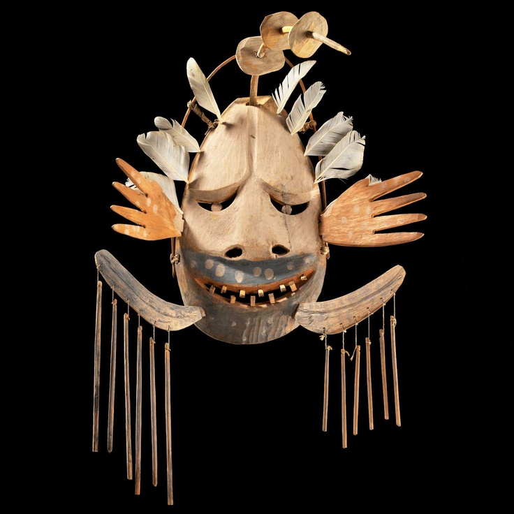 The upper portion of a Yup'ik ceremonial mask depicts walaunuk, the movement of bubbles rising to the surface of water. Among the Yup'ik of Alaska, bubbles are considered to be visible manifestations of breath and underwater life. A seal, for example, must willingly give up its life to a hunter and, when doing so, the animal's soul retreats to its bladder. In reciprocity for this sacrifice, the Yup'ik inflate seal bladders during a winter festival. At the end of the festival, the seal bladder...: Water, Native American Art, Inuit Masks, Bubbles Rise, Depict Walaunuk, Masks Representative, Ceremony Masks, Upper Portion, Yupik Masks