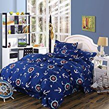 4pc-navy-blue-anchor-theme-duvet-cover-set Best Anchor Bedding and Comforter Sets