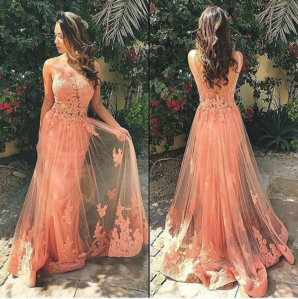 Charming Lace Tulle Peach Unique Pretty Formal Inexpensive Applique Long Prom Dresses, WG254 The long prom dress is fully lined, 4 bones in the bodice, chest pad in the bust, lace up back or zipper ba