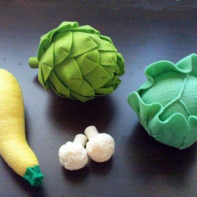Felt vegetables pattern set iv - artichoke, lettuce, cabbage, cauliflower, squash (patterns and tutorials via email)