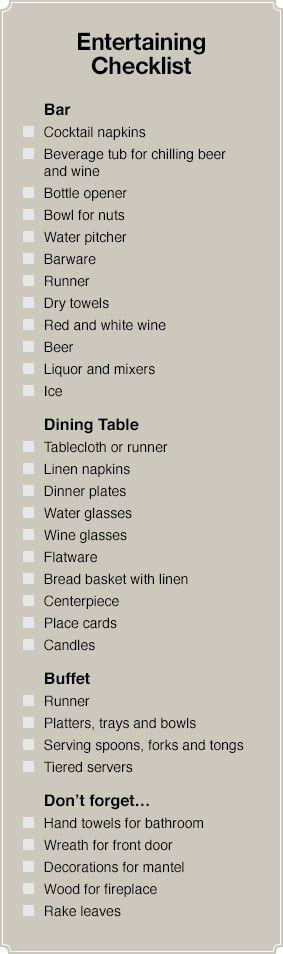 Entertaining checklist.