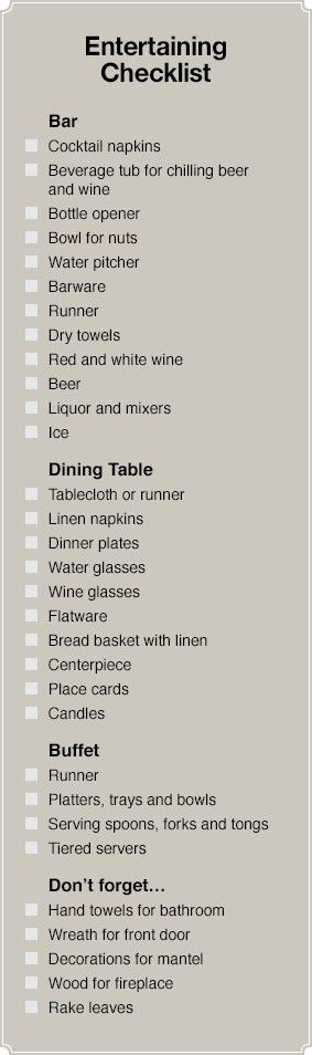 Entertaining checklist.